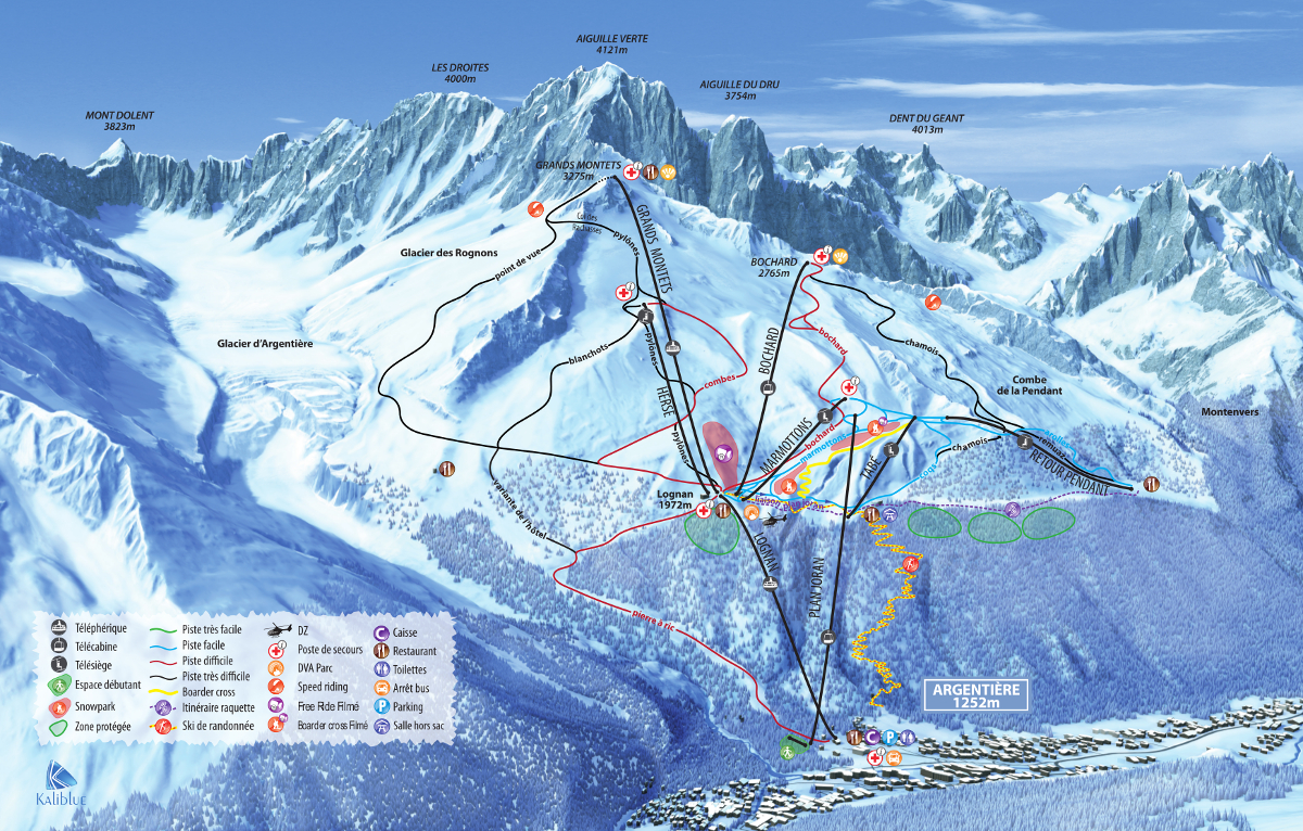 Ski slopes of the Grands Montets